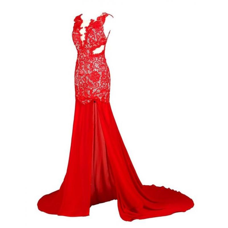 lace prom dress, red prom dress, long prom dress, mermaid prom dress ...