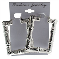 Silver Square Bamboo Earrings