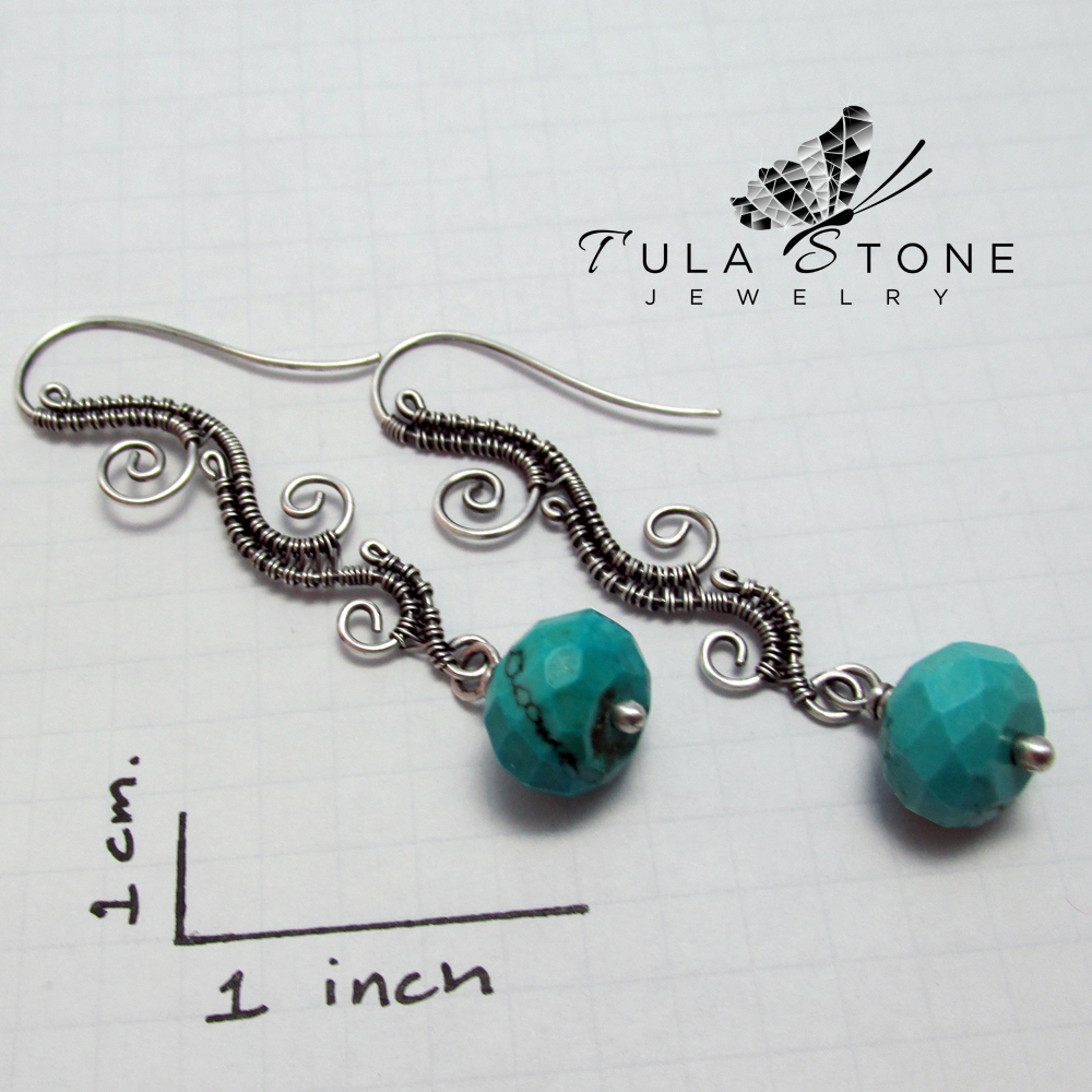 Sterling And Turquoise Woven Wave Earrings 183 Tula Stone