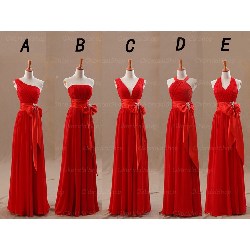 Long Red Bridesmaid Dress
