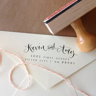 Handwritten calligraphy address stamp -- mixed calligraphy and type - elle style