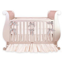 Custom Silk Crib Bedding - Ruffled Skirt, Extra Long