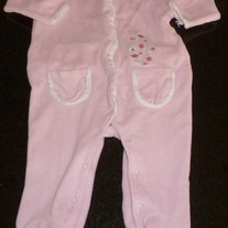 Pink Velour Footed Sleeper-Calvin Klein Size 3-6 Months