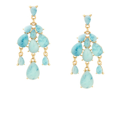 Due drop marble earrings - aquamarine