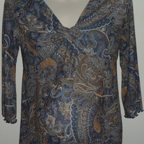 Brown/Blue Sheer Top-Motherhood Maternity Size Medium  CL413