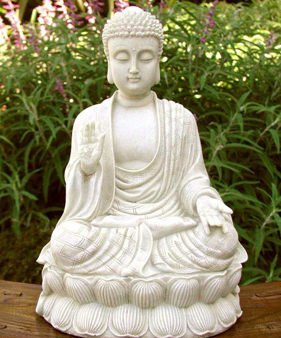 Sitting Meditating Shakyamuni Buddha White Stone Finish Zen Garden Statue