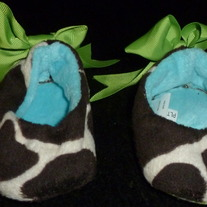 Animal Print Booties with Green Ribbon-Size 0-6 Months