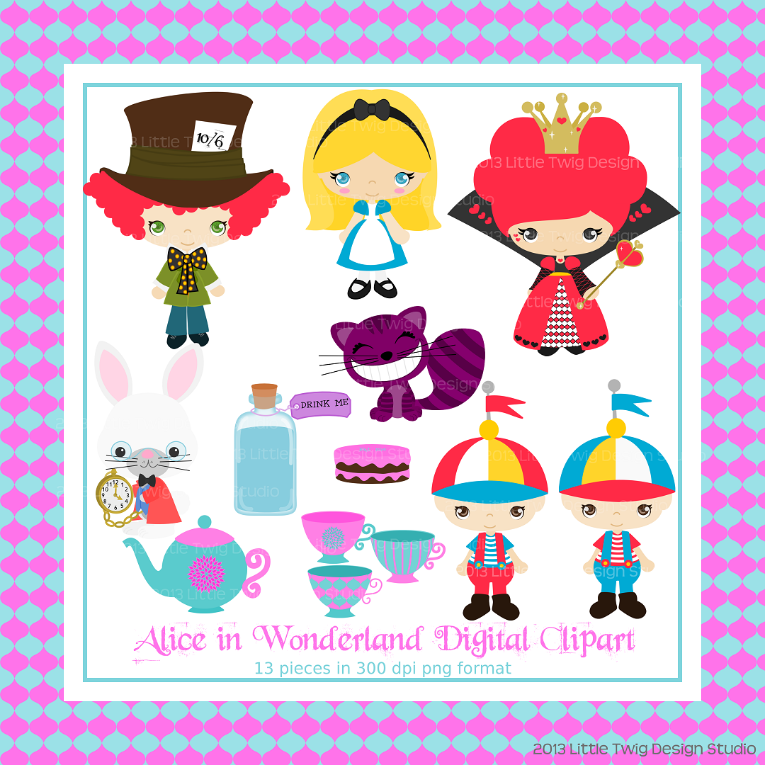 Alice In Wonderland Digital Clipart Collection Personal