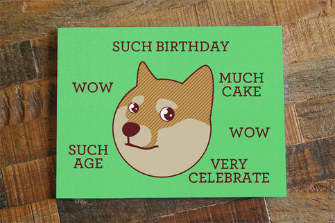 Funny Birthday Card Doge Quot Such Birthday Quot Internet Meme
