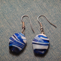 Blue & White Lampwork Glass Stripe Earrings