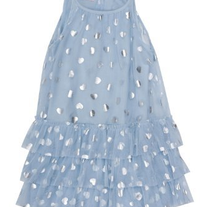 Biscotti Follow Your Heart Ruffled Hem Dress in Blue