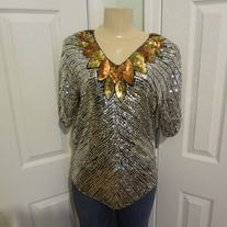 Silver Sequin Vintage Blouse Size Small!!
