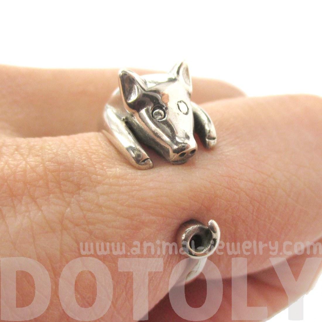 miniature piglet pig animal wrap ring in 925 sterling