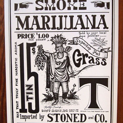 Signed rolly crump marijuana poster
