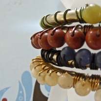 Primary Colors Steel & Gemstone Bracelet Set