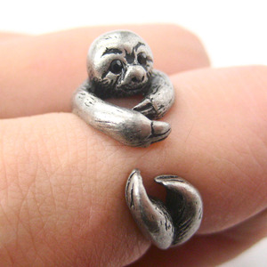 3D Sloth Animal Hug Wrap Ring in Silver - Sizes 5 to 9.5