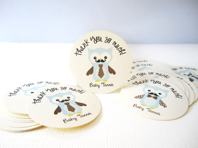 Owl with Mustache and Tie Stickers, Personalized
