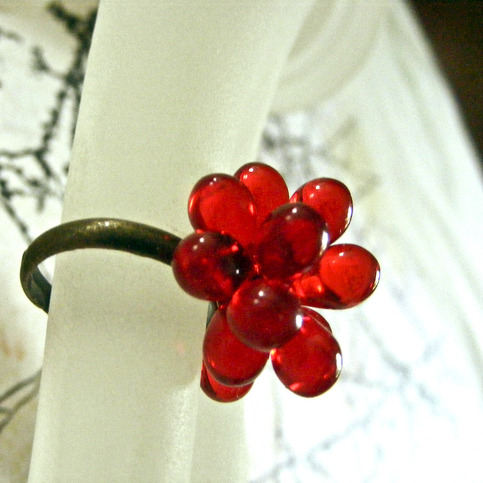 Red Glass Cluster Ring