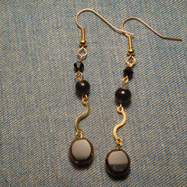 "Triple Black ""S"" Curve Dangle Earrings"