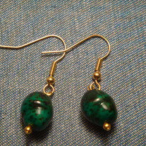 Green & Black Marble Glass Earrings