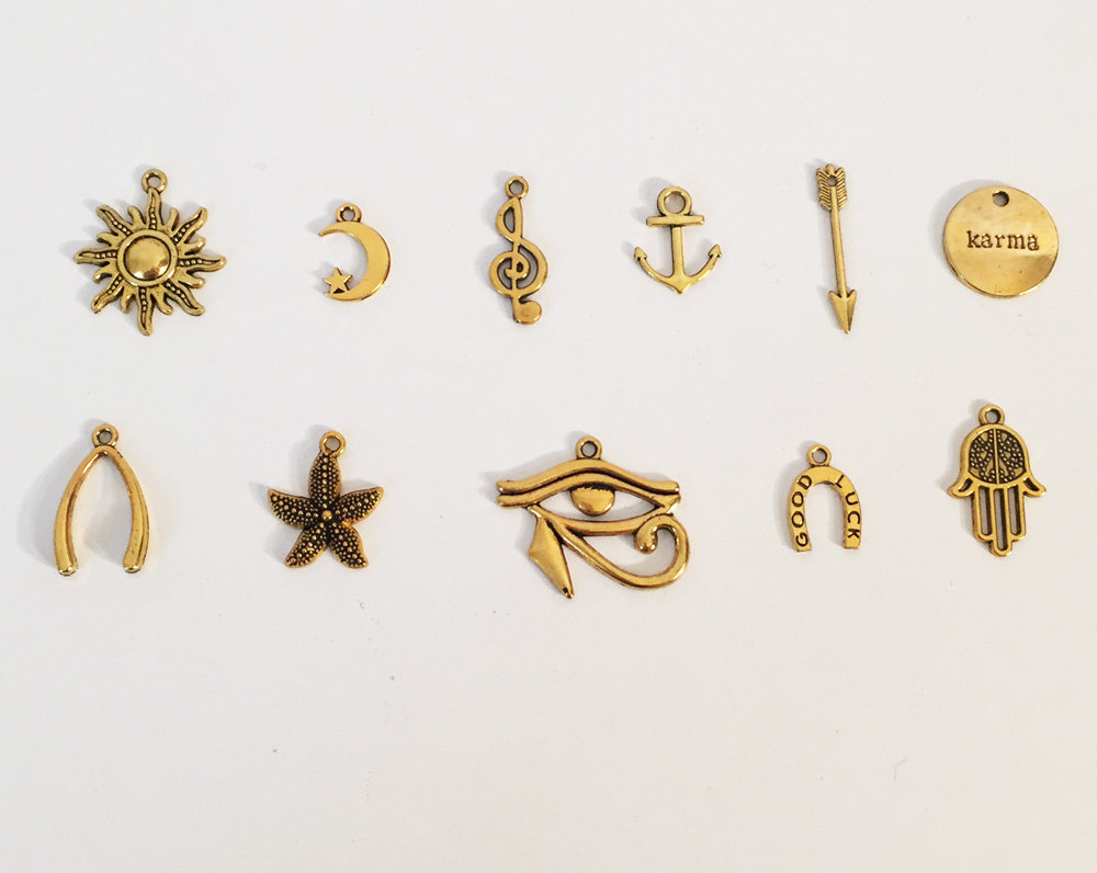 Add on gold charms moon charm sun charm anchor charm choker add on gold charms moon charm sun charm anchor charm choker necklace aloadofball
