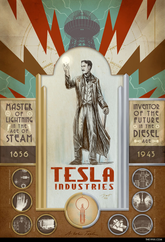 Nikola Tesla Print, Nikola Tesla Illustration, Paul Roman Martinez, Art, steampunk, dieselpunk
