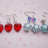Star and hearts earrings