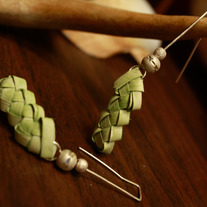 Braided Green Palm Frond Sterling Silver Earrings