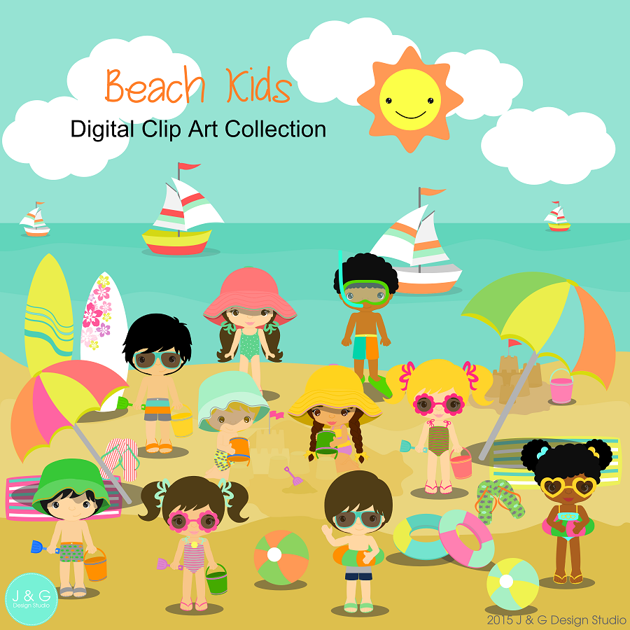 Beach Kids Children Series 2 Digital Clipart Clip Art Collection