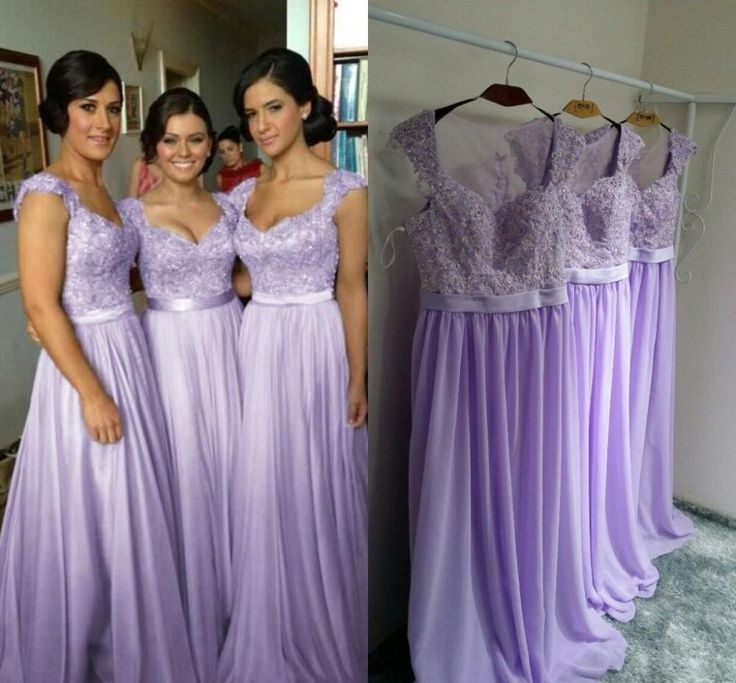 long bridesmaid dress, lilac bridesmaid dress, cap sleeve bridesmaid ...