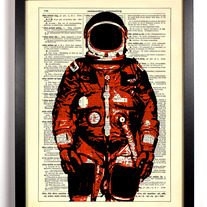 Image of Red Space Man, Vintage Dictionary Print, 8 x 10