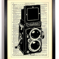Image of Rolleiflex Camera, Vintage Dictionary Print, 8 x 10