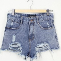 Ripped Highwaist Denim Shorts