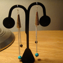 Black & Blue Sandstone with Tibetan Silver Earrings