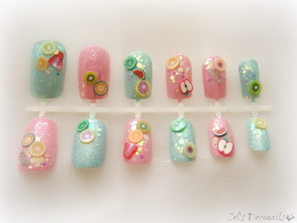 Glitter fruit kawaii 3d nail art set, deco nails · celdeconail ...