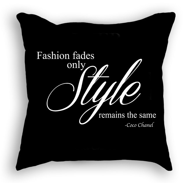 Fashion Fades Style Remains The Same Coco Chanel Quote Decorative Throw Pillow Cheritrendy