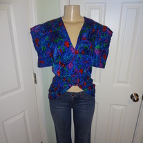 Vintage Royal Blue Flower Top Size 8!!