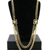 VERSACE STYLE GOLD LION NECKLACE CHAIN SQUARE HEAD LIONS
