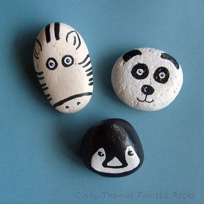 Black & white zoo animal painted rocks (set of 3) - free usa shipping