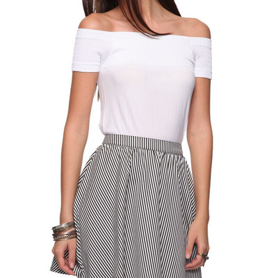 Xs white off-shoulder short sleeve stretch top ribbed banded shirt