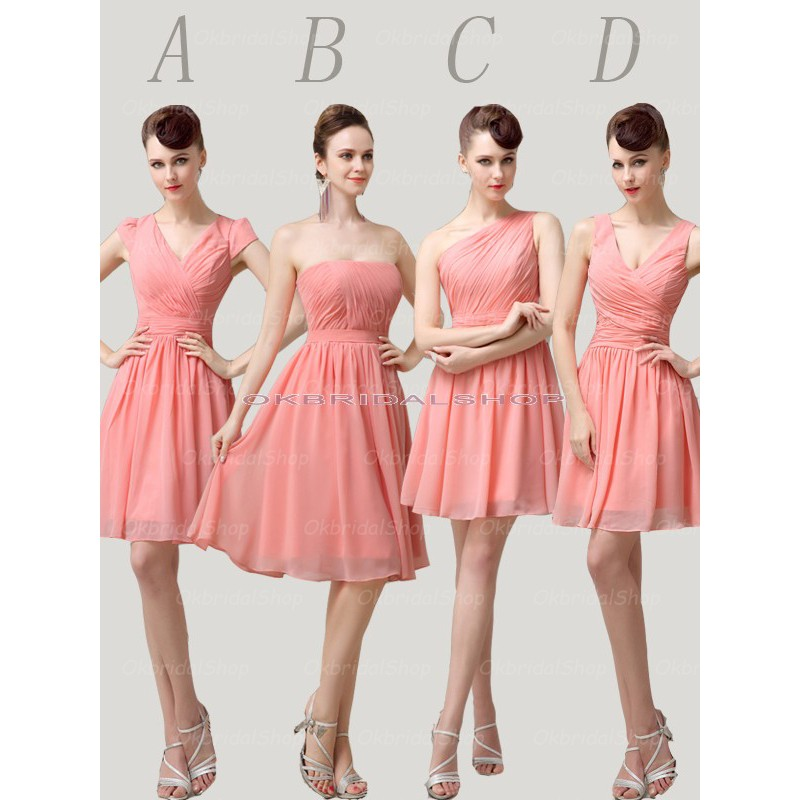 peach bridesmaid dress, short bridesmaid dress, mismatched ...