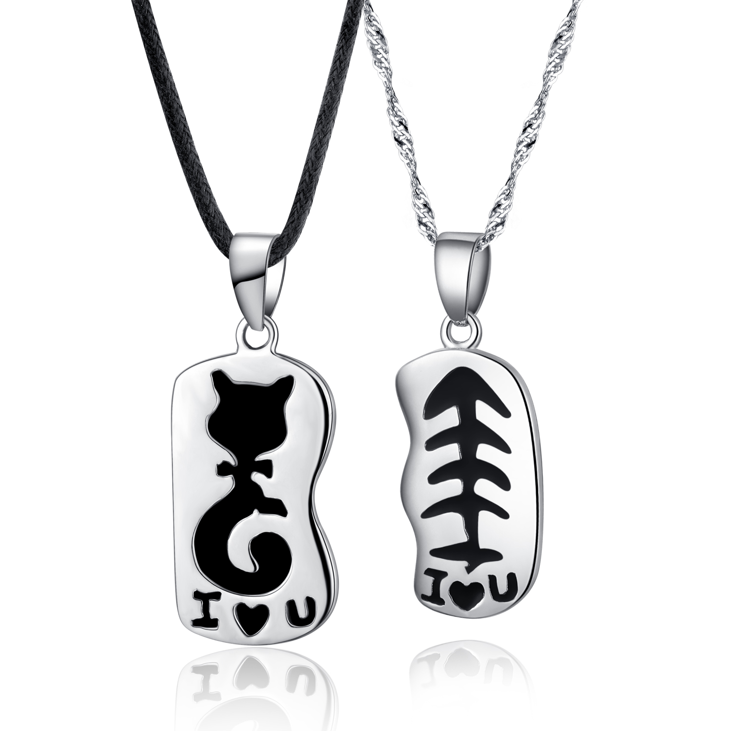 925 Sterling Couple Lovers Cat Fish Bone Pendant Necklaces Jewelry ...
