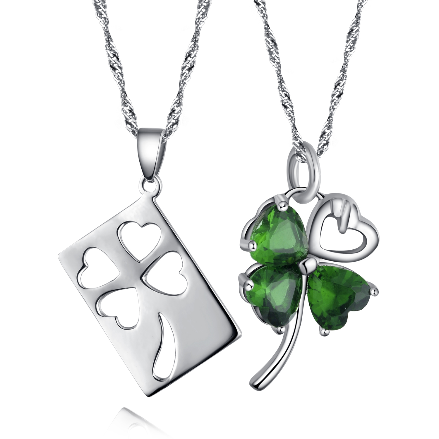 heart in leaf silver shamrock necklace sterling four necklaces clover