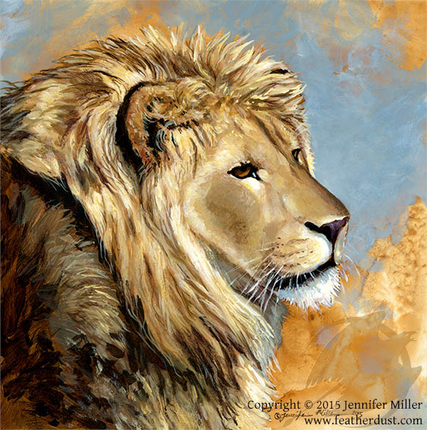the long hours lion acrylic painting featherdust studio online