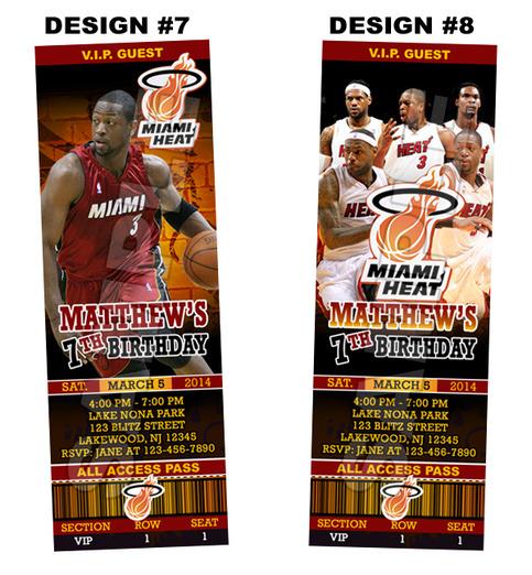 Miami Heat Ticket Birthday Party Invitations Printable