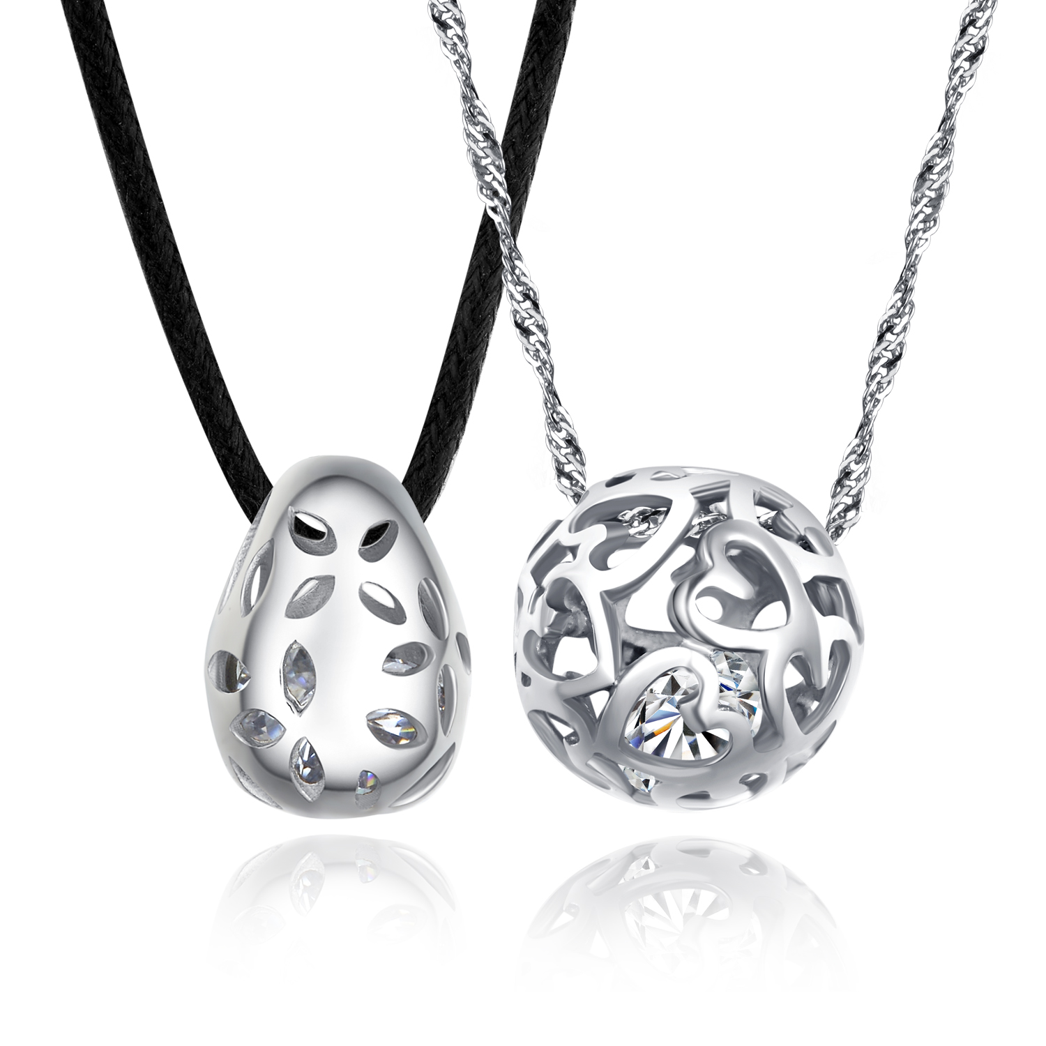 925 sterling couple lovers hollow ball pendant necklaces jewelry 925 sterling couple lovers hollow ball pendant necklaces jewelry sets and black cord and 18 inch aloadofball Images