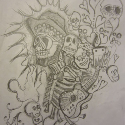 Day of the dead guitar drawing