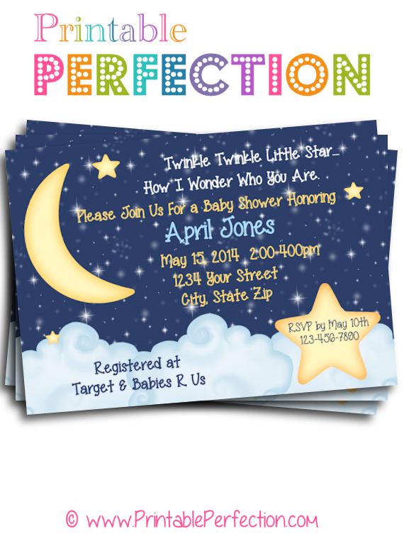 Baby Shower Invitation Blue Twinkle Twinkle Little Star