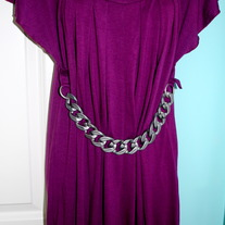 Purple Drape Pleated Chain Dress