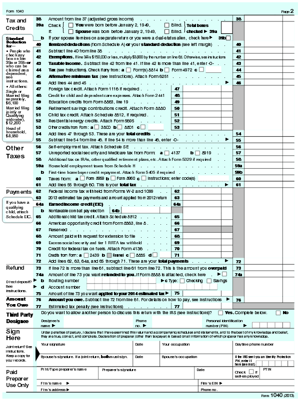 Form 1040 Page 2 Peopledavidjoel
